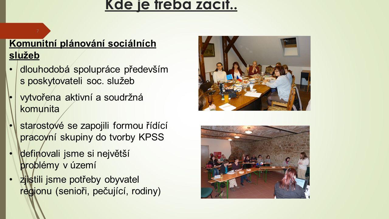 Kde je třeba začít.. 7 Komunitní plánování sociálních služeb dlouhodobá spolupráce především s poskytovateli soc. služeb vytvořena aktivní a soudržná