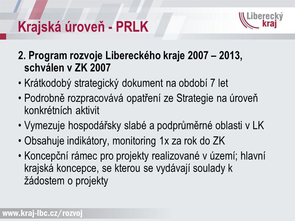 Krajská úroveň - PRLK 2. Program rozvoje Libereckého kraje 2007 – 2013, schválen v ZK 2007 Krátkodobý strategický dokument na období 7 let Podrobně ro