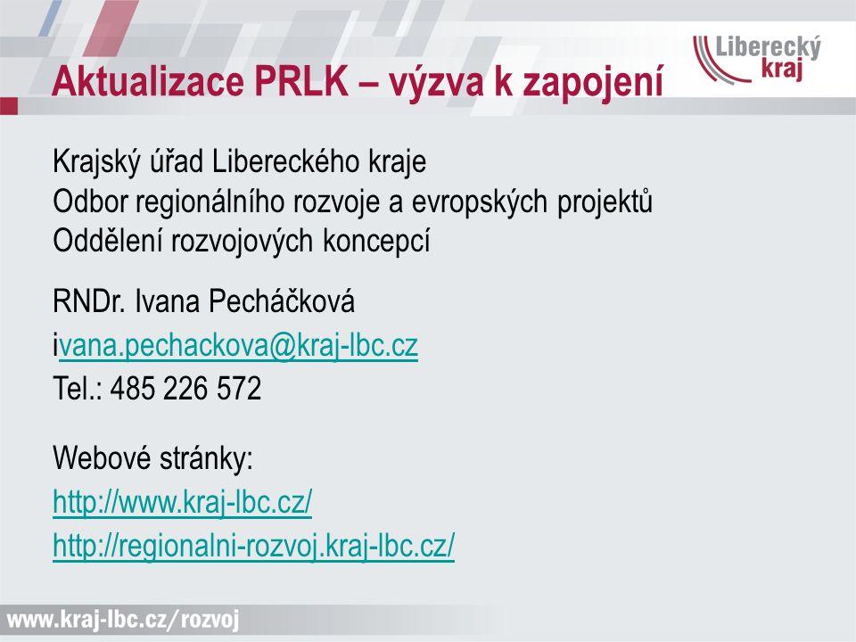 Aktualizace PRLK – výzva k zapojení Krajský úřad Libereckého kraje Odbor regionálního rozvoje a evropských projektů Oddělení rozvojových koncepcí RNDr