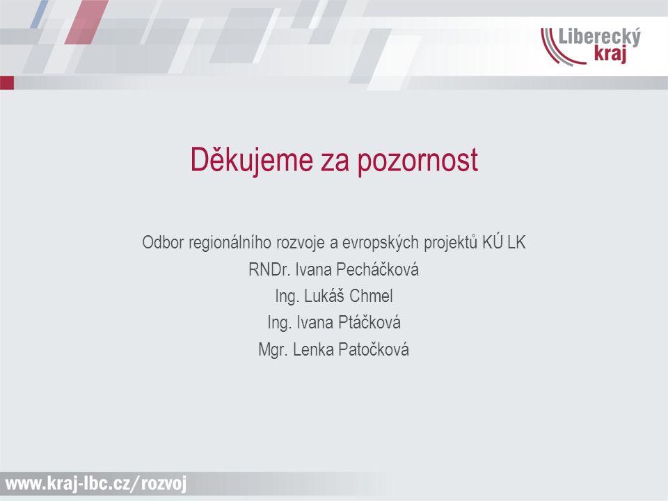 Děkujeme za pozornost Odbor regionálního rozvoje a evropských projektů KÚ LK RNDr. Ivana Pecháčková Ing. Lukáš Chmel Ing. Ivana Ptáčková Mgr. Lenka Pa