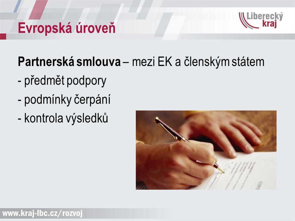 Evropská úroveň Partnerská smlouva – mezi EK a členským státem - předmět podpory - podmínky čerpání - kontrola výsledků
