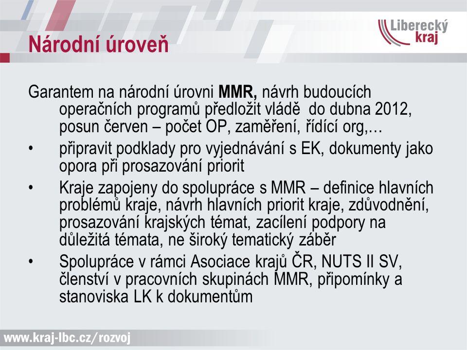 Národní úroveň Garantem na národní úrovni MMR, návrh budoucích operačních programů předložit vládě do dubna 2012, posun červen – počet OP, zaměření, ř