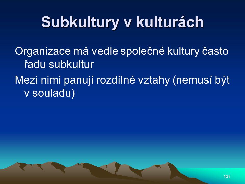 101 Subkultury v kulturách Organizace má vedle společné kultury často řadu subkultur Mezi nimi panují rozdílné vztahy (nemusí být v souladu)