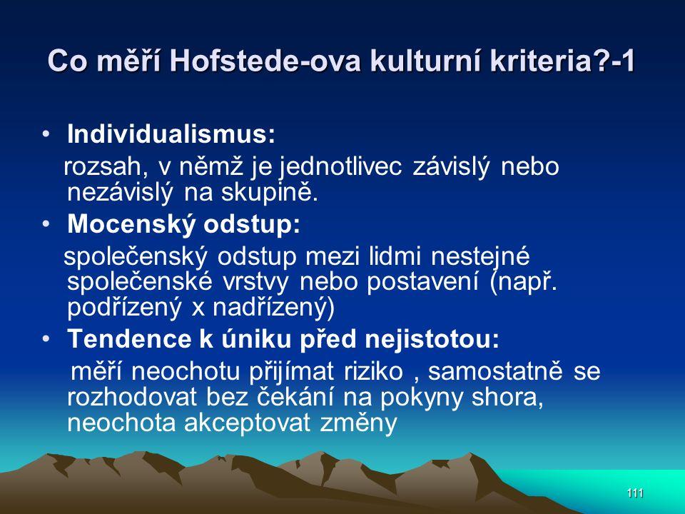 111 Co měří Hofstede-ova kulturní kriteria?-1 Individualismus: rozsah, v němž je jednotlivec závislý nebo nezávislý na skupině. Mocenský odstup: spole