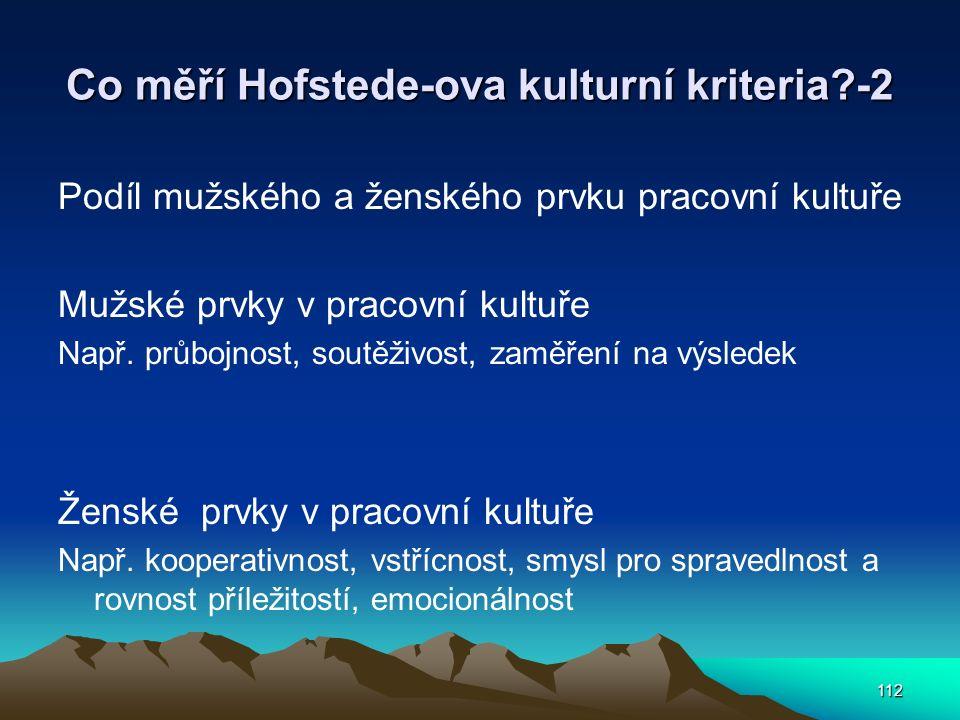 112 Co měří Hofstede-ova kulturní kriteria?-2 Podíl mužského a ženského prvku pracovní kultuře Mužské prvky v pracovní kultuře Např. průbojnost, soutě