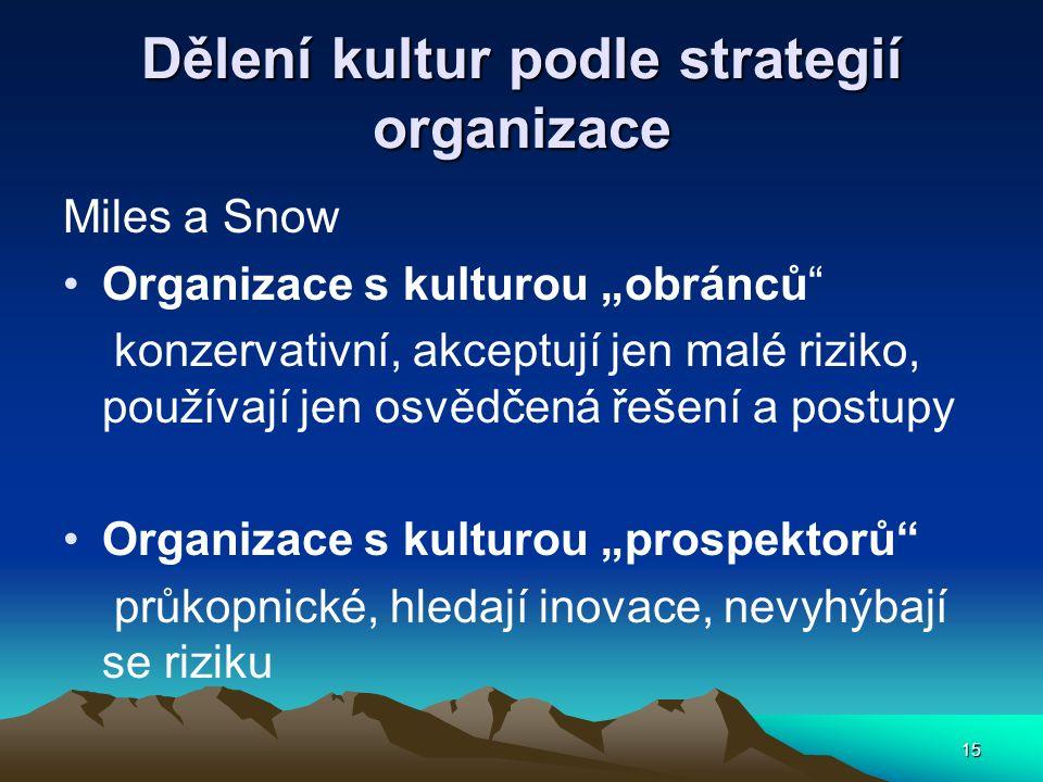 """15 Dělení kultur podle strategií organizace Miles a Snow Organizace s kulturou """"obránců"""" konzervativní, akceptují jen malé riziko, používají jen osvěd"""