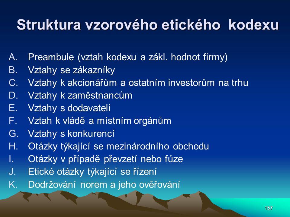 157 Struktura vzorového etického kodexu A.Preambule (vztah kodexu a zákl. hodnot firmy) B.Vztahy se zákazníky C.Vztahy k akcionářům a ostatním investo