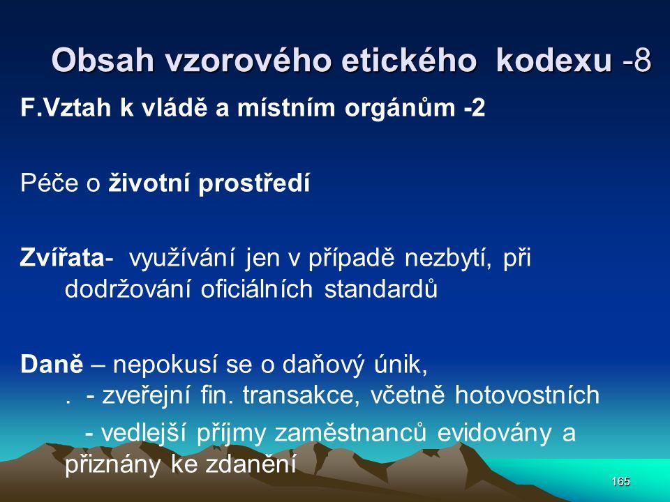 165 Obsah vzorového etického kodexu -8 F.Vztah k vládě a místním orgánům -2 Péče o životní prostředí Zvířata- využívání jen v případě nezbytí, při dod