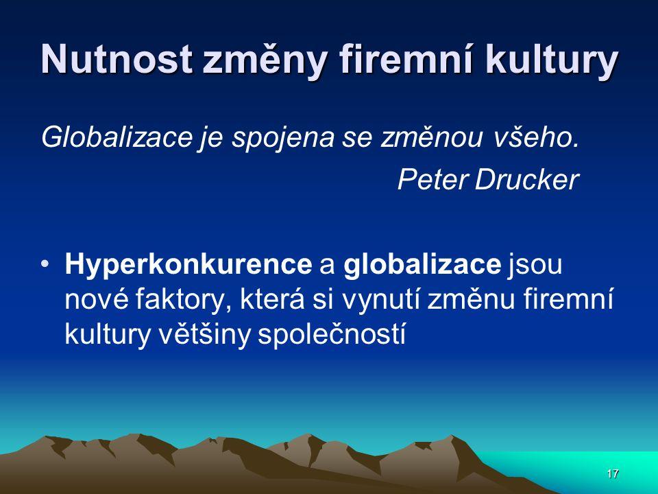 17 Nutnost změny firemní kultury Globalizace je spojena se změnou všeho. Peter Drucker Hyperkonkurence a globalizace jsou nové faktory, která si vynut