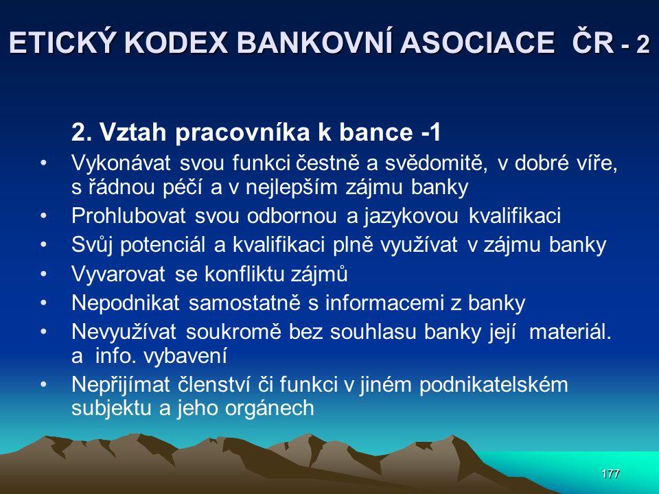 177 ETICKÝ KODEX BANKOVNÍ ASOCIACE ČR - 2 2. Vztah pracovníka k bance -1 Vykonávat svou funkci čestně a svědomitě, v dobré víře, s řádnou péčí a v nej