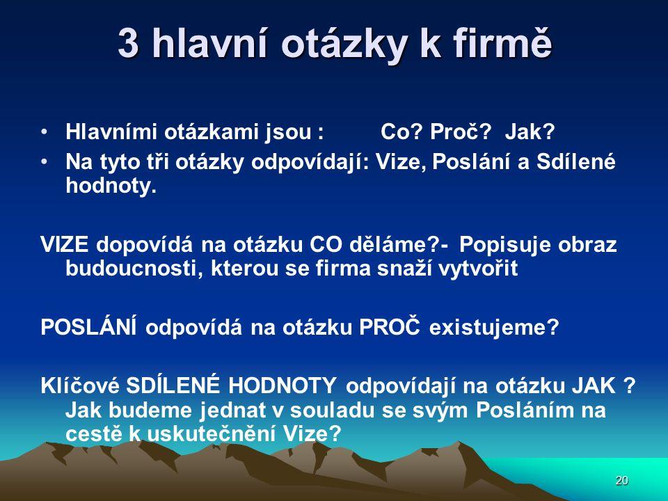 20 3 hlavní otázky k firmě Hlavními otázkami jsou : Co? Proč? Jak? Na tyto tři otázky odpovídají: Vize, Poslání a Sdílené hodnoty. VIZE dopovídá na ot