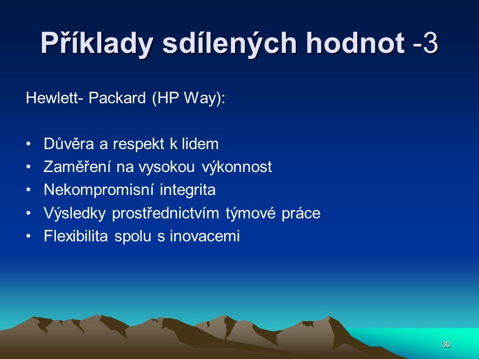 30 Příklady sdílených hodnot -3 Hewlett- Packard (HP Way): Důvěra a respekt k lidem Zaměření na vysokou výkonnost Nekompromisní integrita Výsledky pro