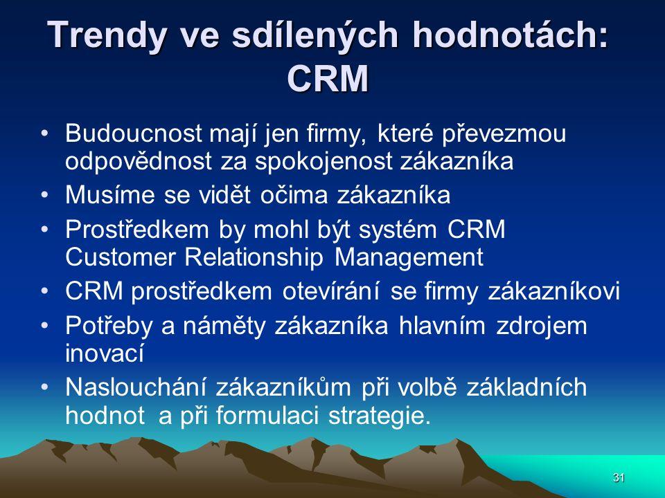 31 Trendy ve sdílených hodnotách: CRM Budoucnost mají jen firmy, které převezmou odpovědnost za spokojenost zákazníka Musíme se vidět očima zákazníka Prostředkem by mohl být systém CRM Customer Relationship Management CRM prostředkem otevírání se firmy zákazníkovi Potřeby a náměty zákazníka hlavním zdrojem inovací Naslouchání zákazníkům při volbě základních hodnot a při formulaci strategie.