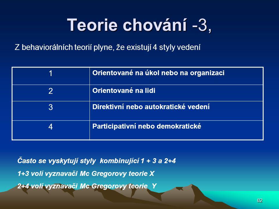 82 Teorie chování -3, Z behaviorálních teorií plyne, že existují 4 styly vedení 1 Orientované na úkol nebo na organizaci 2 Orientované na lidi 3 Direk