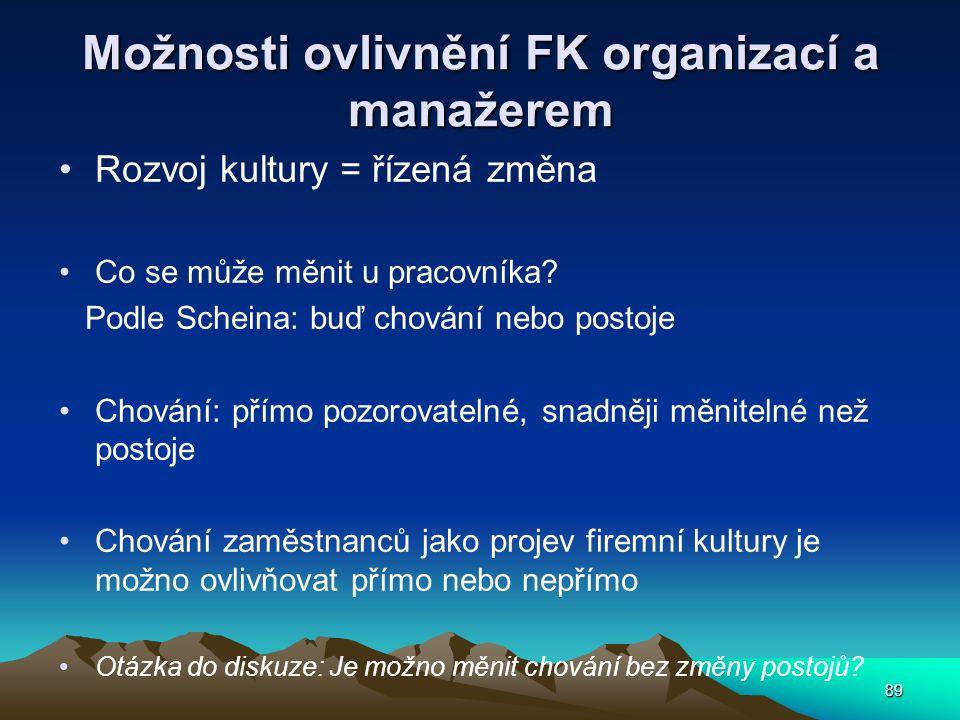 89 Možnosti ovlivnění FK organizací a manažerem Rozvoj kultury = řízená změna Co se může měnit u pracovníka? Podle Scheina: buď chování nebo postoje C