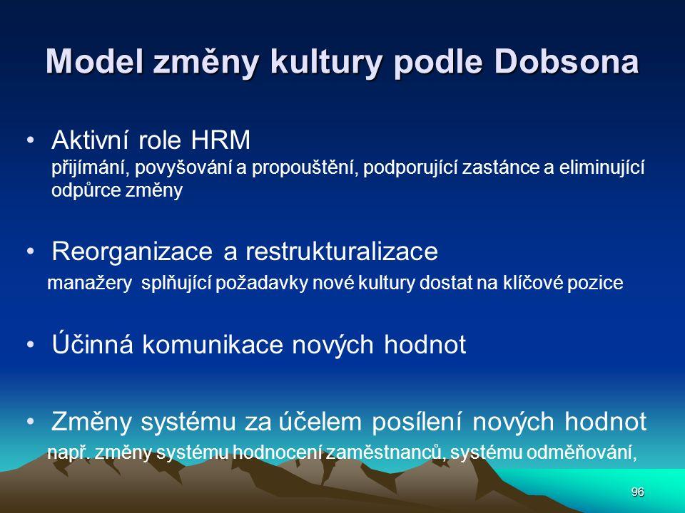 96 Model změny kultury podle Dobsona Aktivní role HRM přijímání, povyšování a propouštění, podporující zastánce a eliminující odpůrce změny Reorganizace a restrukturalizace manažery splňující požadavky nové kultury dostat na klíčové pozice Účinná komunikace nových hodnot Změny systému za účelem posílení nových hodnot např.