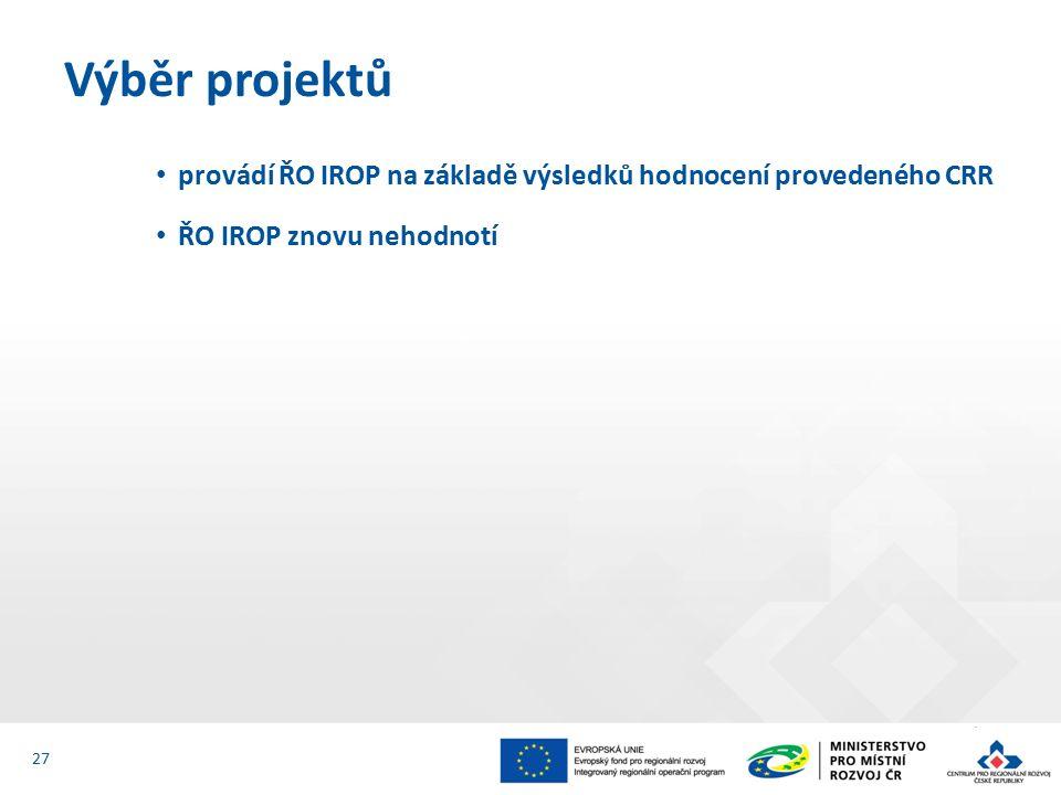 provádí ŘO IROP na základě výsledků hodnocení provedeného CRR ŘO IROP znovu nehodnotí Výběr projektů 27