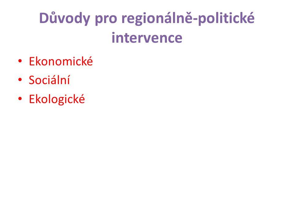 Důvody pro regionálně-politické intervence Ekonomické Sociální Ekologické