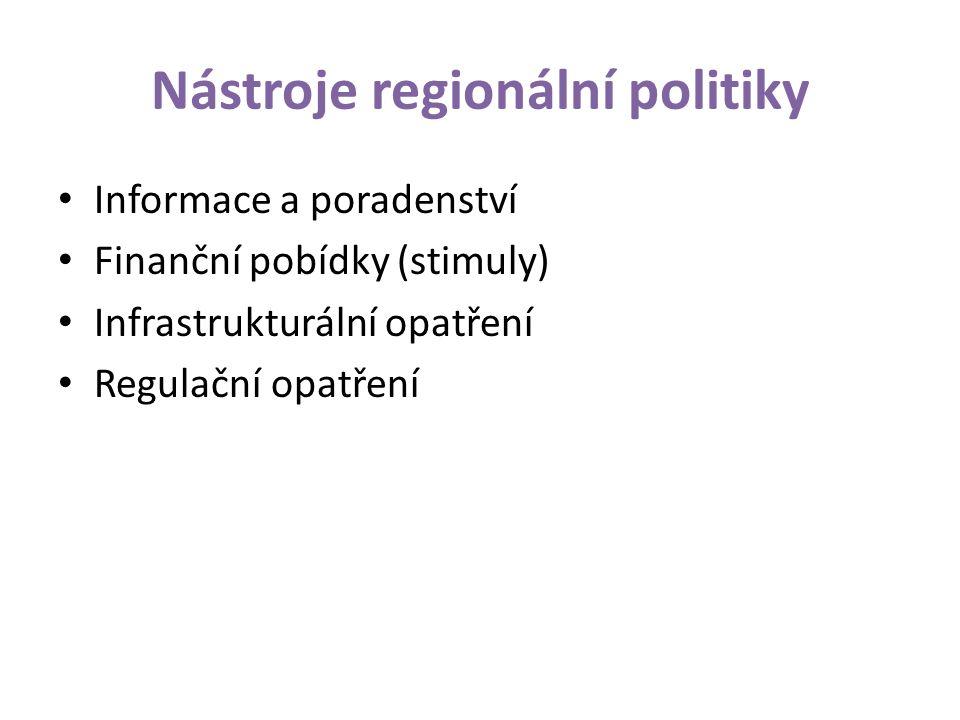 Nástroje regionální politiky Informace a poradenství Finanční pobídky (stimuly) Infrastrukturální opatření Regulační opatření