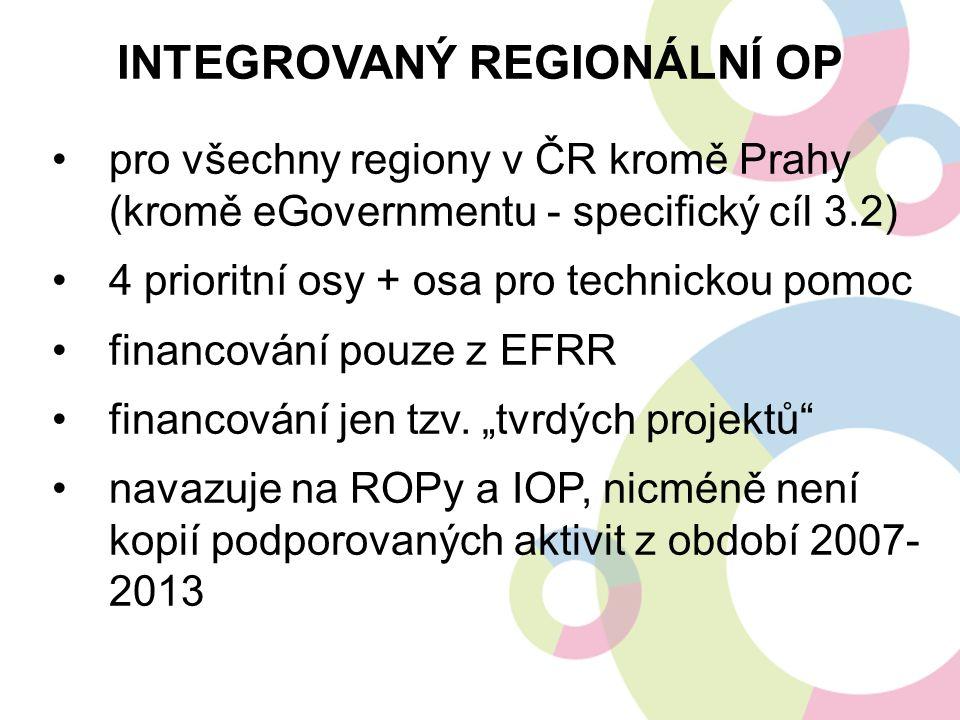 pro všechny regiony v ČR kromě Prahy (kromě eGovernmentu - specifický cíl 3.2) 4 prioritní osy + osa pro technickou pomoc financování pouze z EFRR financování jen tzv.