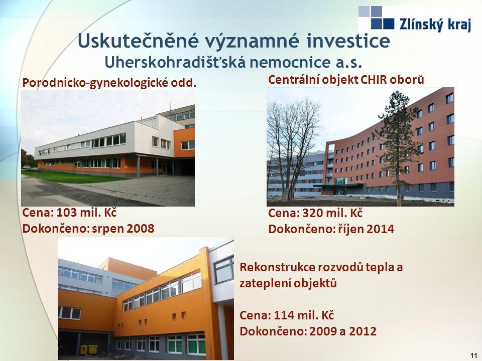 Uskutečněné významné investice Uherskohradišťská nemocnice a.s. 11 Porodnicko-gynekologické odd. Cena: 103 mil. Kč Dokončeno: srpen 2008 Rekonstrukce
