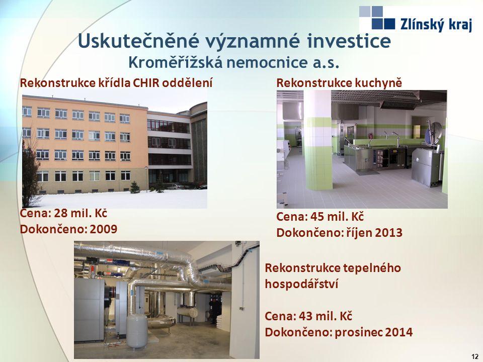 Uskutečněné významné investice Kroměřížská nemocnice a.s. 12 Rekonstrukce křídla CHIR oddělení Cena: 28 mil. Kč Dokončeno: 2009 Rekonstrukce tepelného
