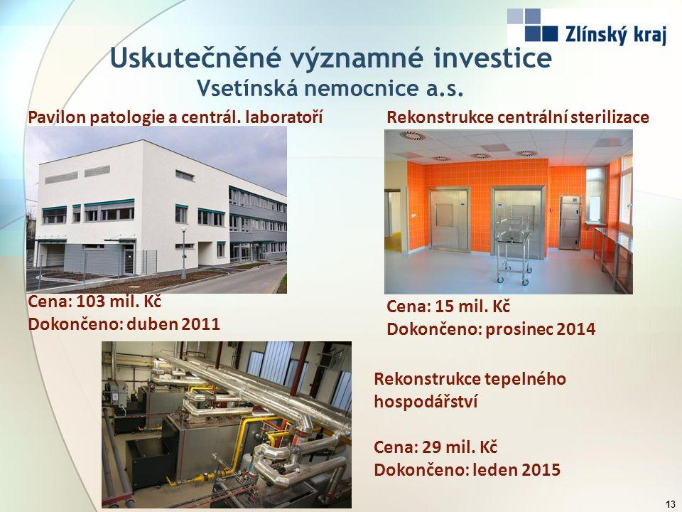 Uskutečněné významné investice Vsetínská nemocnice a.s. 13 Pavilon patologie a centrál. laboratoří Cena: 103 mil. Kč Dokončeno: duben 2011 Rekonstrukc