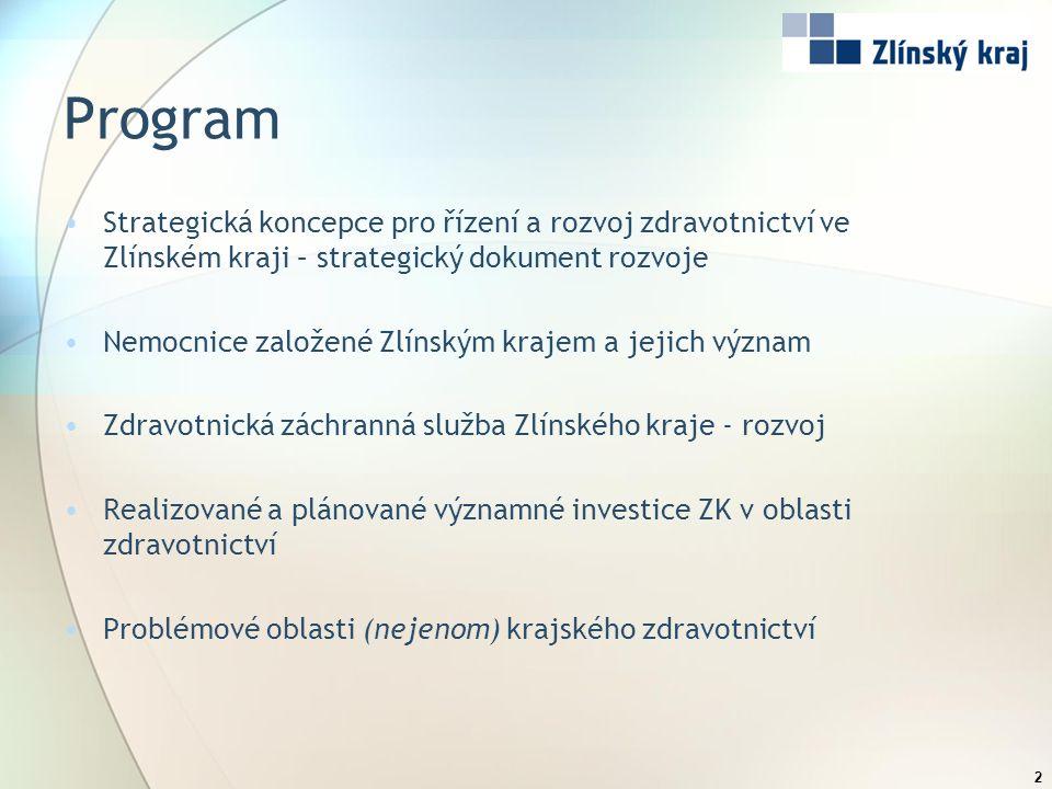 Program Strategická koncepce pro řízení a rozvoj zdravotnictví ve Zlínském kraji – strategický dokument rozvoje Nemocnice založené Zlínským krajem a j