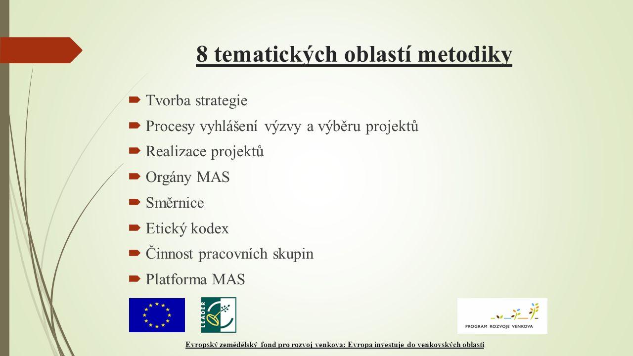 8 tematických oblastí metodiky  Tvorba strategie  Procesy vyhlášení výzvy a výběru projektů  Realizace projektů  Orgány MAS  Směrnice  Etický kodex  Činnost pracovních skupin  Platforma MAS Evropský zemědělský fond pro rozvoj venkova: Evropa investuje do venkovských oblastí