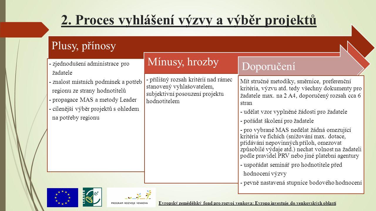 2. Proces vyhlášení výzvy a výběr projektů Plusy, přínosy - zjednodušení administrace pro žadatele - znalost místních podmínek a potřeb regionu ze str
