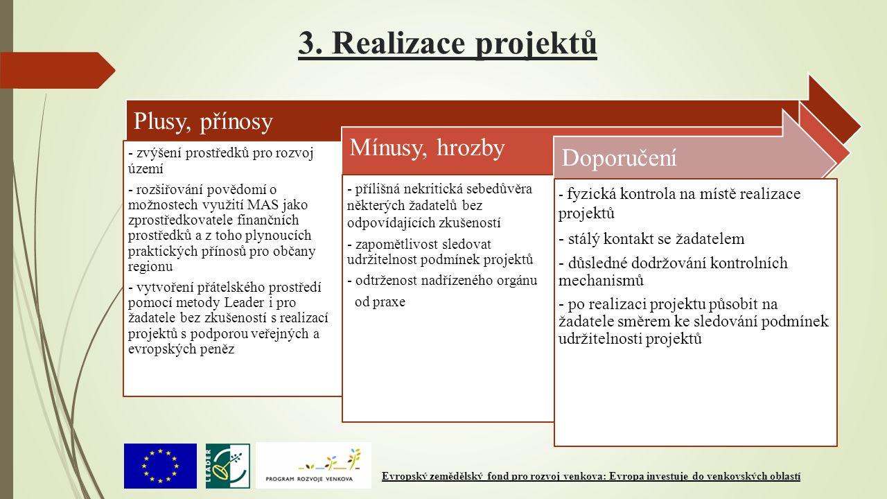 3. Realizace projektů Plusy, přínosy - zvýšení prostředků pro rozvoj území - rozšiřování povědomí o možnostech využití MAS jako zprostředkovatele fina