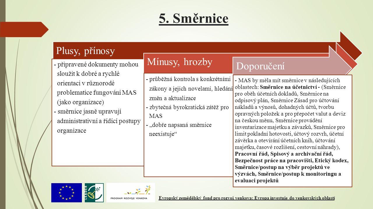 5. Směrnice Plusy, přínosy - připravené dokumenty mohou sloužit k dobré a rychlé orientaci v různorodé problematice fungování MAS (jako organizace) -