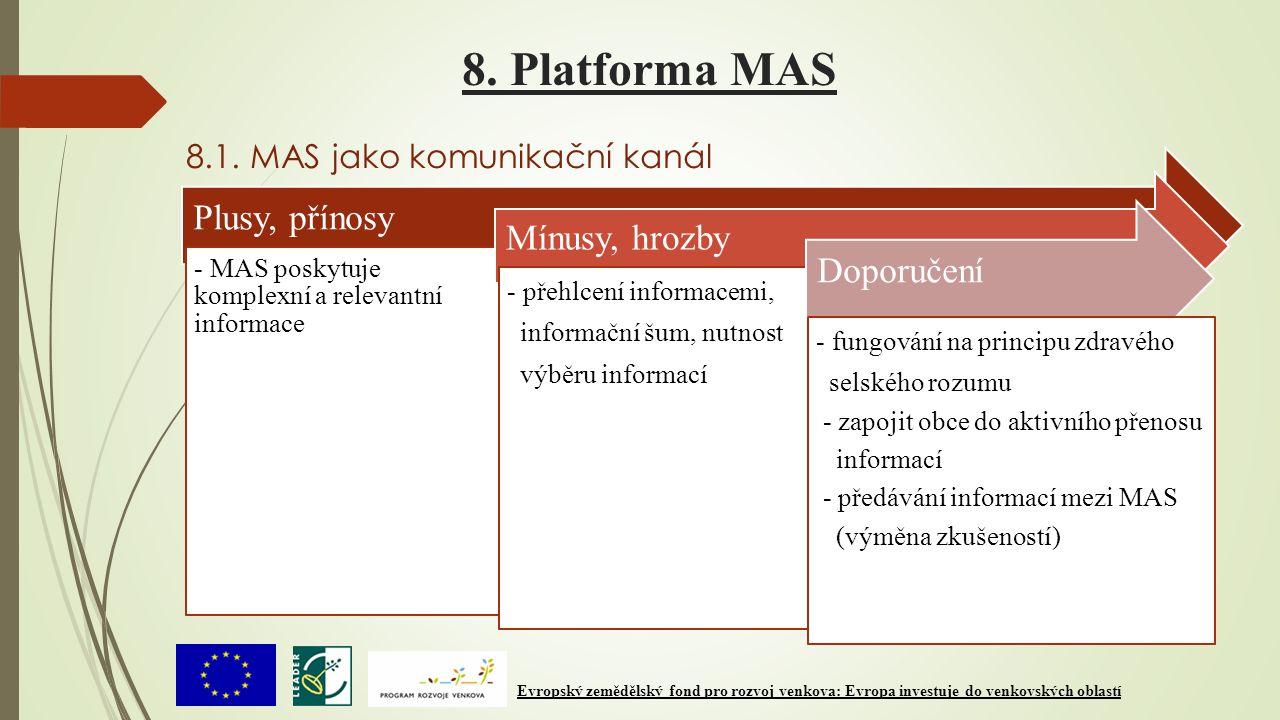 8. Platforma MAS 8.1. MAS jako komunikační kanál Plusy, přínosy - MAS poskytuje komplexní a relevantní informace Mínusy, hrozby - přehlcení informacem