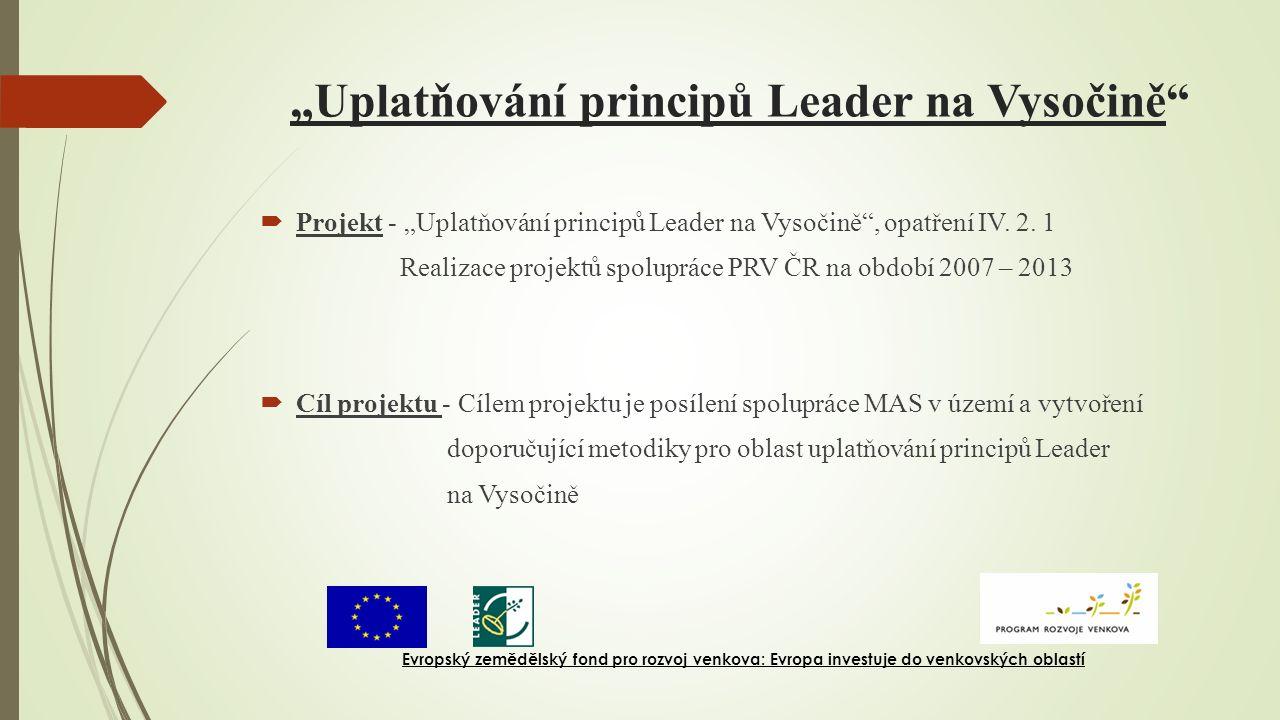 """""""Uplatňování principů Leader na Vysočině  Projekt - """"Uplatňování principů Leader na Vysočině , opatření IV."""