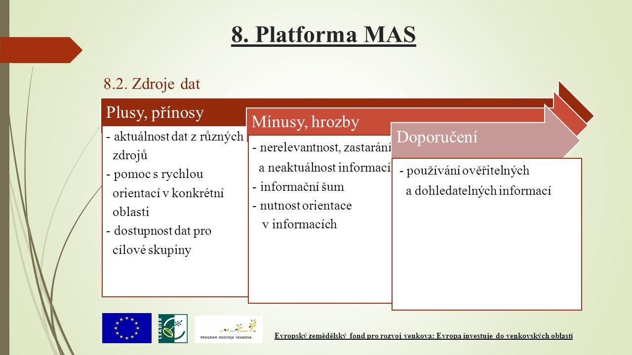 8. Platforma MAS 8.2. Zdroje dat Plusy, přínosy - aktuálnost dat z různých zdrojů - pomoc s rychlou orientací v konkrétní oblasti - dostupnost dat pro