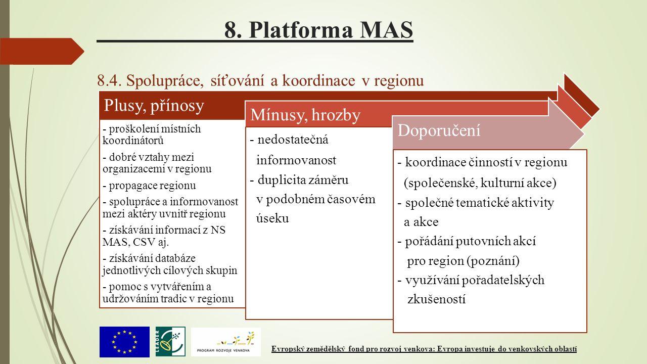 8. Platforma MAS 8.4. Spolupráce, síťování a koordinace v regionu Plusy, přínosy - proškolení místních koordinátorů - dobré vztahy mezi organizacemi v