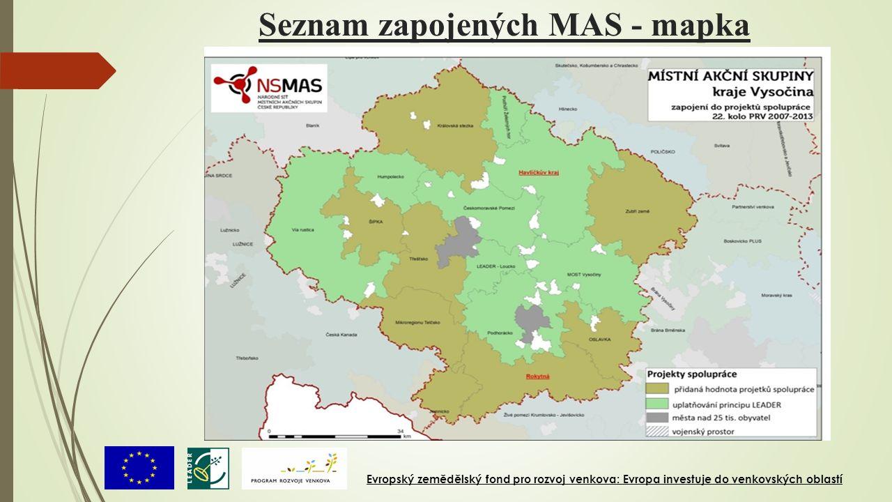 Seznam zapojených MAS - mapka Evropský zemědělský fond pro rozvoj venkova: Evropa investuje do venkovských oblastí