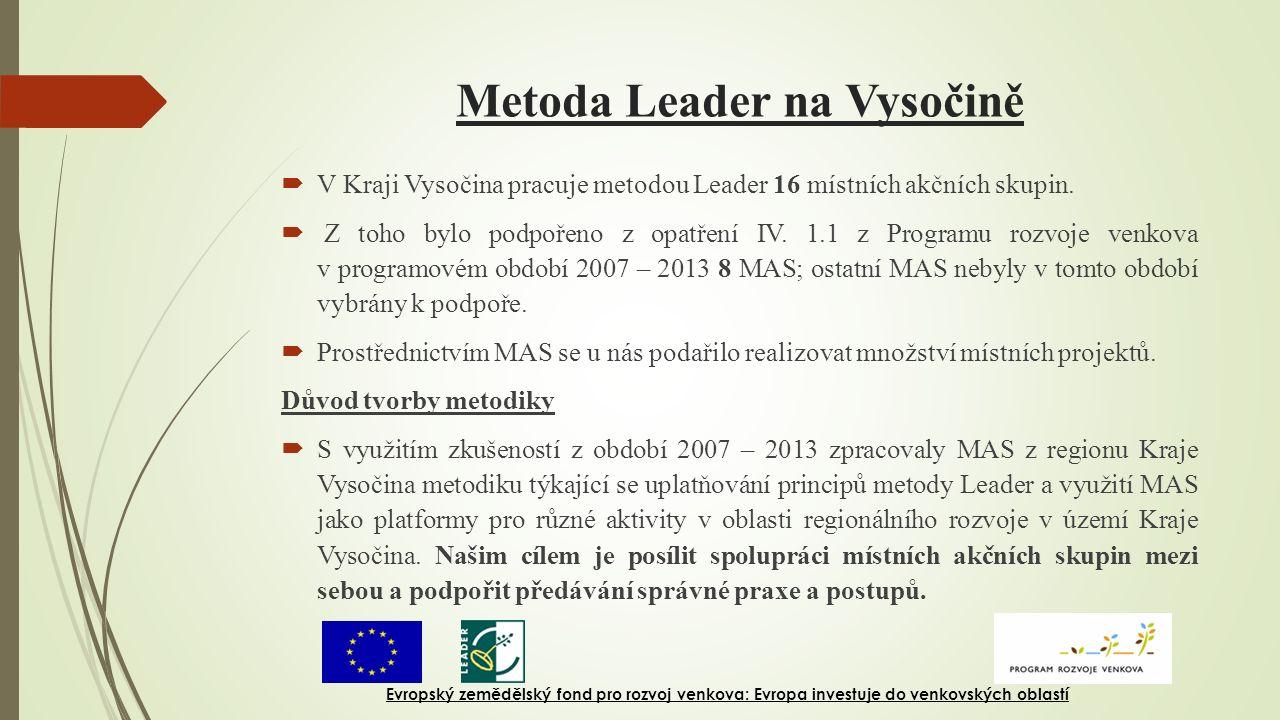 Metoda Leader na Vysočině  V Kraji Vysočina pracuje metodou Leader 16 místních akčních skupin.  Z toho bylo podpořeno z opatření IV. 1.1 z Programu