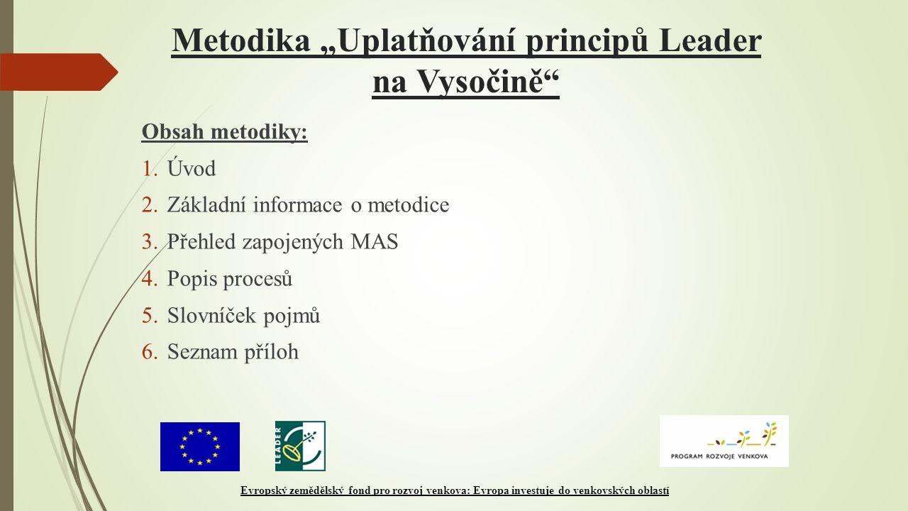 """Metodika """"Uplatňování principů Leader na Vysočině"""" Obsah metodiky: 1.Úvod 2.Základní informace o metodice 3.Přehled zapojených MAS 4.Popis procesů 5.S"""