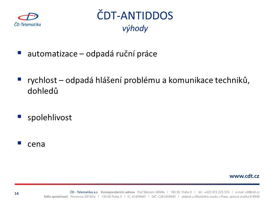 ČDT-ANTIDDOS výhody 14  automatizace – odpadá ruční práce  rychlost – odpadá hlášení problému a komunikace techniků, dohledů  spolehlivost  cena