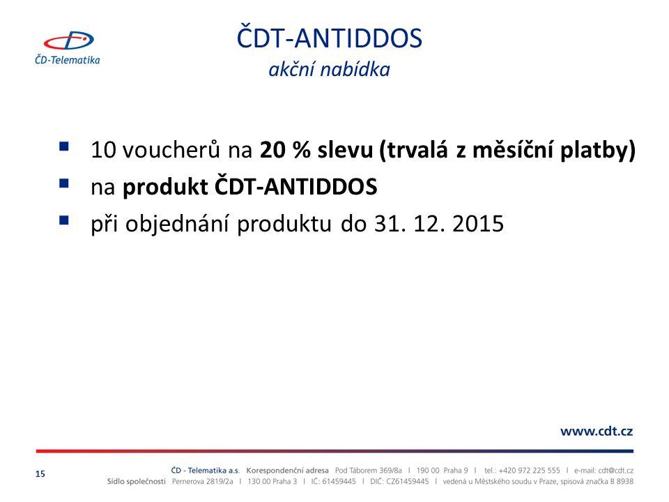 ČDT-ANTIDDOS akční nabídka 15  10 voucherů na 20 % slevu (trvalá z měsíční platby)  na produkt ČDT-ANTIDDOS  při objednání produktu do 31.