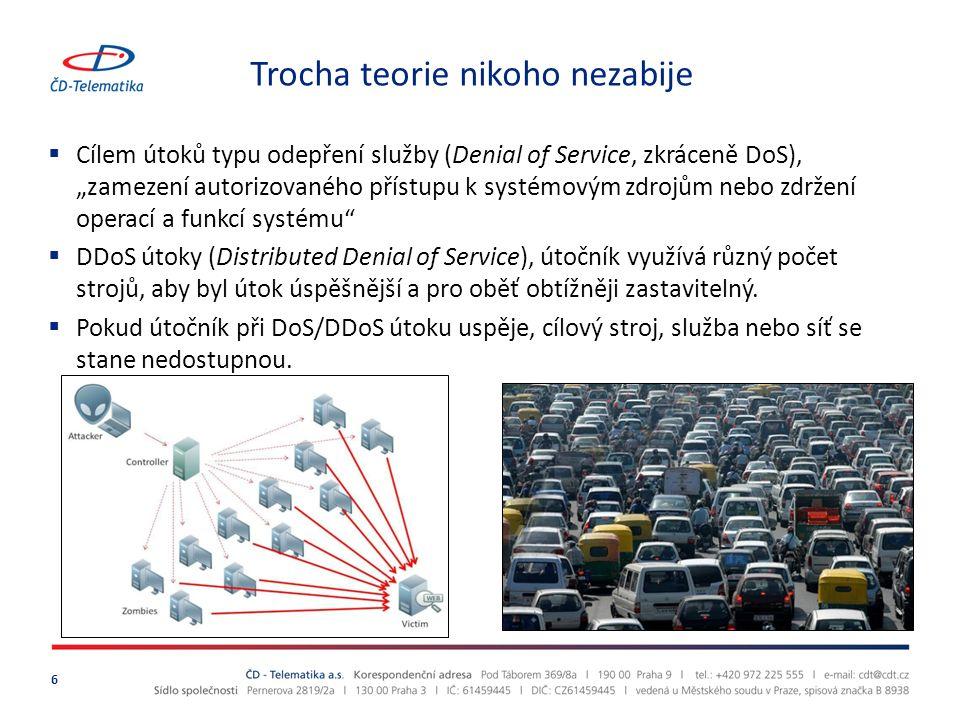 """Trocha teorie nikoho nezabije  Cílem útoků typu odepření služby (Denial of Service, zkráceně DoS), """"zamezení autorizovaného přístupu k systémovým zdrojům nebo zdržení operací a funkcí systému  DDoS útoky (Distributed Denial of Service), útočník využívá různý počet strojů, aby byl útok úspěšnější a pro oběť obtížněji zastavitelný."""