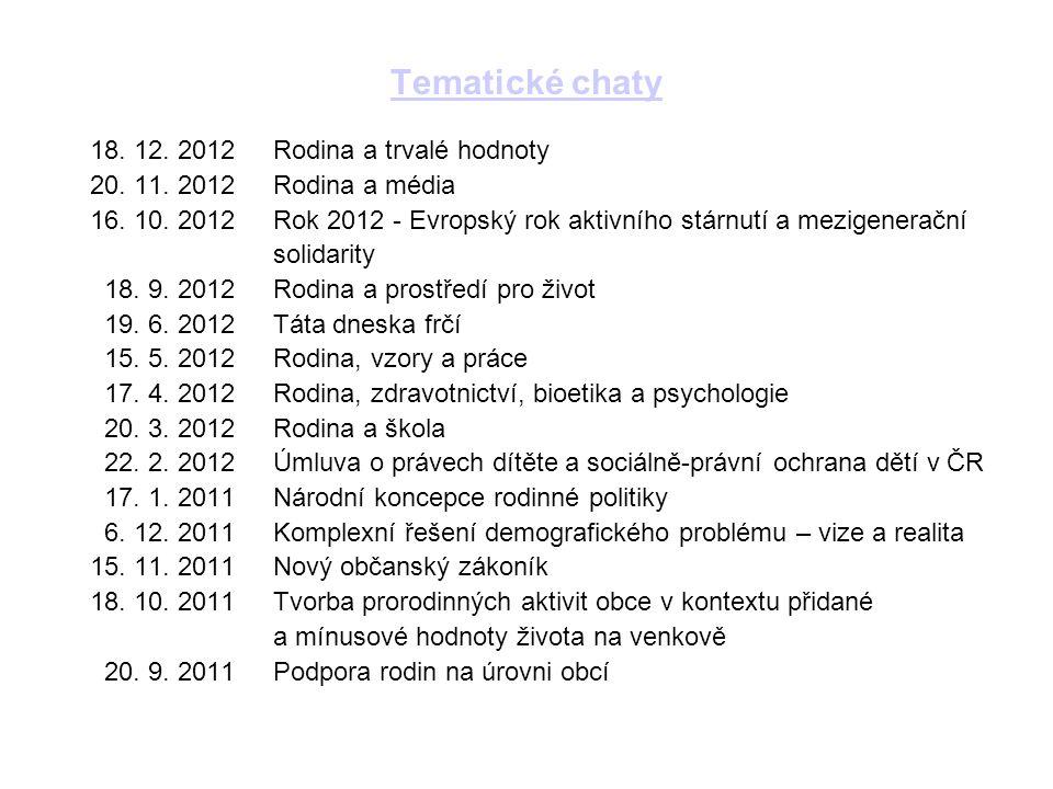 Tematické chaty 18. 12. 2012 Rodina a trvalé hodnoty 20.