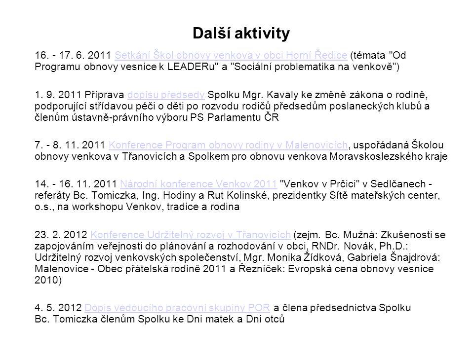 Další aktivity 16. - 17. 6.