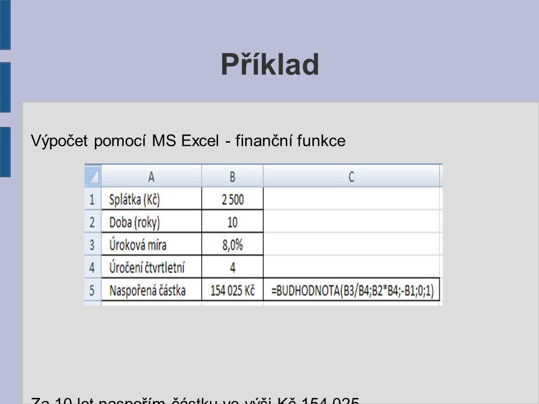 Příklad Výpočet pomocí MS Excel - finanční funkce Za 10 let naspořím částku ve výši Kč 154 025.