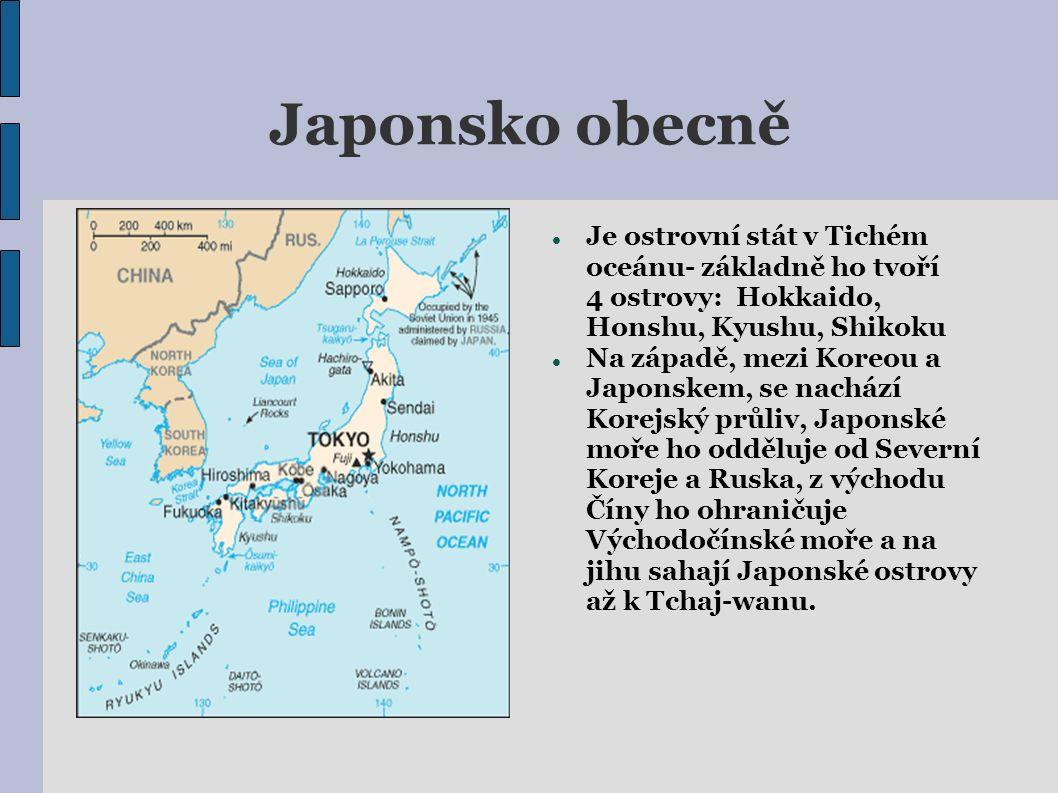 Japonsko obecně Je ostrovní stát v Tichém oceánu- základně ho tvoří 4 ostrovy: Hokkaido, Honshu, Kyushu, Shikoku Na západě, mezi Koreou a Japonskem, se nachází Korejský průliv, Japonské moře ho odděluje od Severní Koreje a Ruska, z východu Číny ho ohraničuje Východočínské moře a na jihu sahají Japonské ostrovy až k Tchaj-wanu.