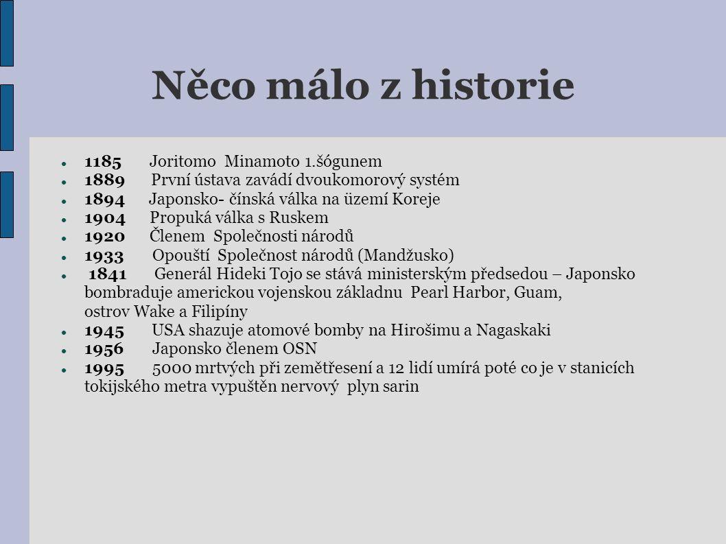 Něco málo z historie 1185 Joritomo Minamoto 1.šógunem 1889 První ústava zavádí dvoukomorový systém 1894 Japonsko- čínská válka na üzemí Koreje 1904 Pr