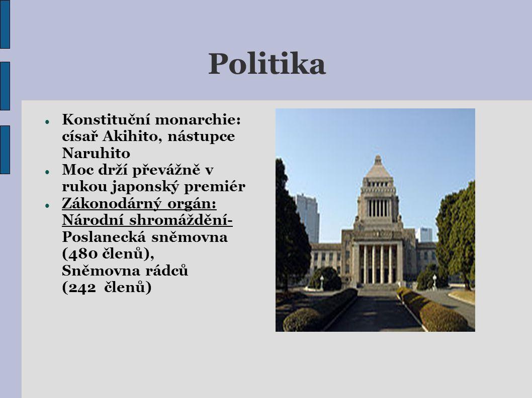 Politika Konstituční monarchie: císař Akihito, nástupce Naruhito Moc drží převážně v rukou japonský premiér Zákonodárný orgán: Národní shromáždění- Poslanecká sněmovna (480 členů), Sněmovna rádců (242 členů)