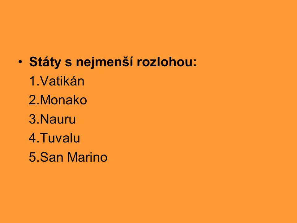 Státy s nejmenší rozlohou: 1.Vatikán 2.Monako 3.Nauru 4.Tuvalu 5.San Marino