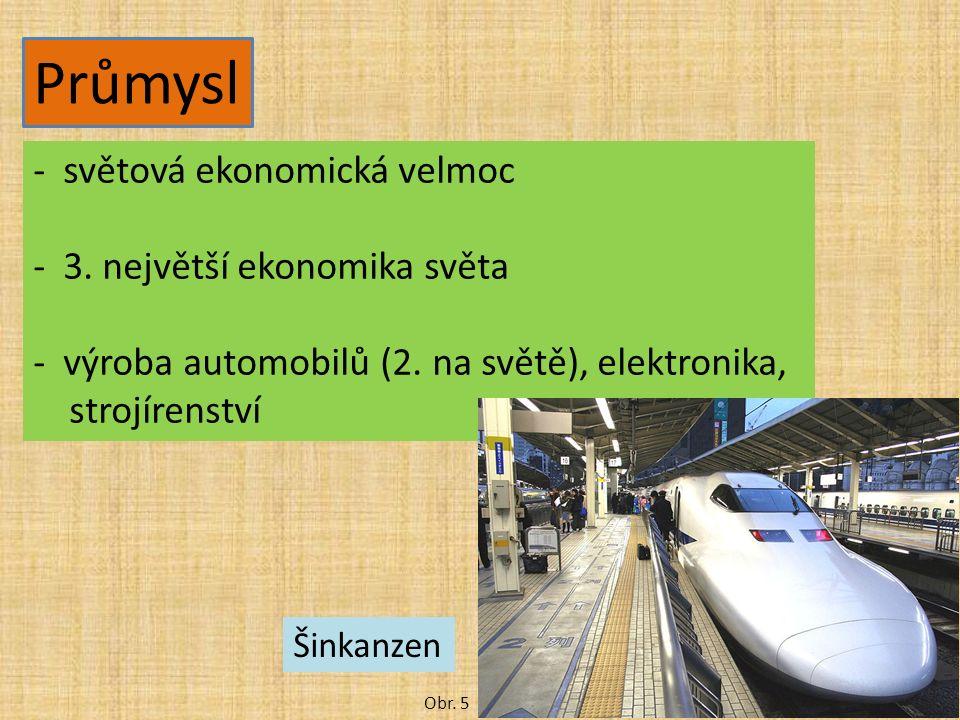 Průmysl -světová ekonomická velmoc -3. největší ekonomika světa -výroba automobilů (2. na světě), elektronika, strojírenství Obr. 5 Šinkanzen